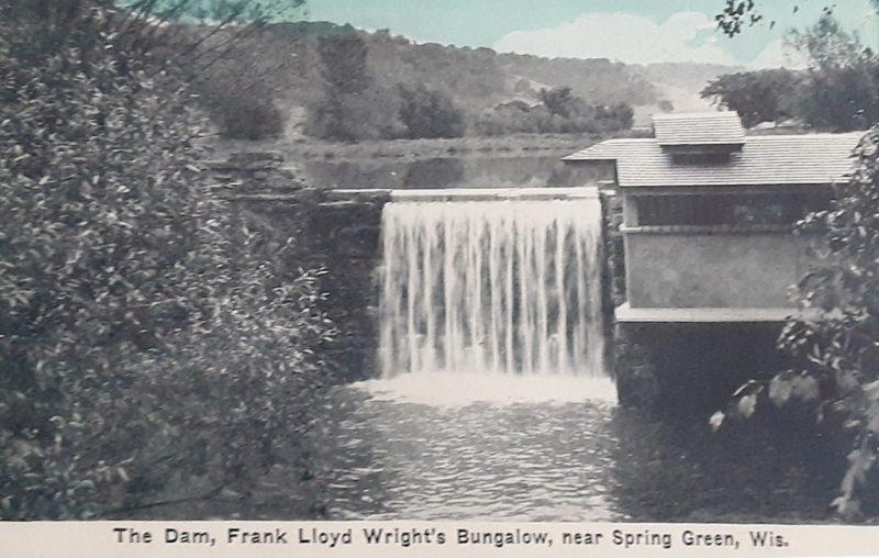Dam, waterfall, and hydro-house at Frank Lloyd Wright's Taliesin