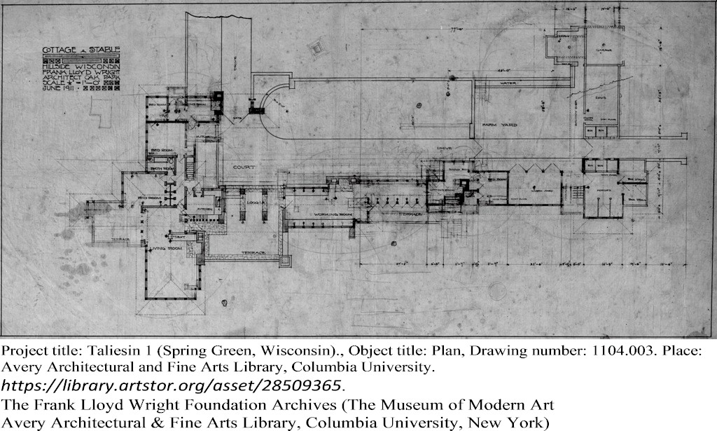 Floor plan of Taliesin. Drawing #1104.003. The Frank Lloyd Wright Foundation Archives (The Museum of Modern Art Avery Architectural & Fine Arts Library, Columbia University, New York).