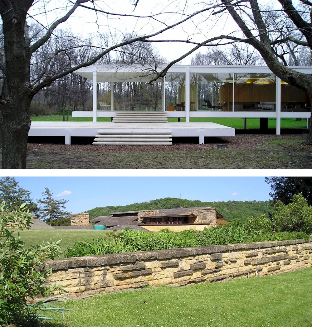 Mies van der Rohe Farnsworth House on top and part of Frank Lloyd Wright's Taliesin on bottom.