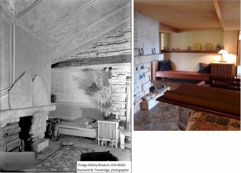 Taliesin interior. On left: by Raymond Trowbridge, 1930. On right, by Keiran Murphy 2019.