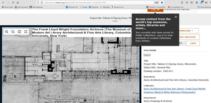 #7803.001 The Frank Lloyd Wright Foundation Archives (The Museum of Modern Art | Avery Architectural & Fine Arts Library, Columbia University, New York)