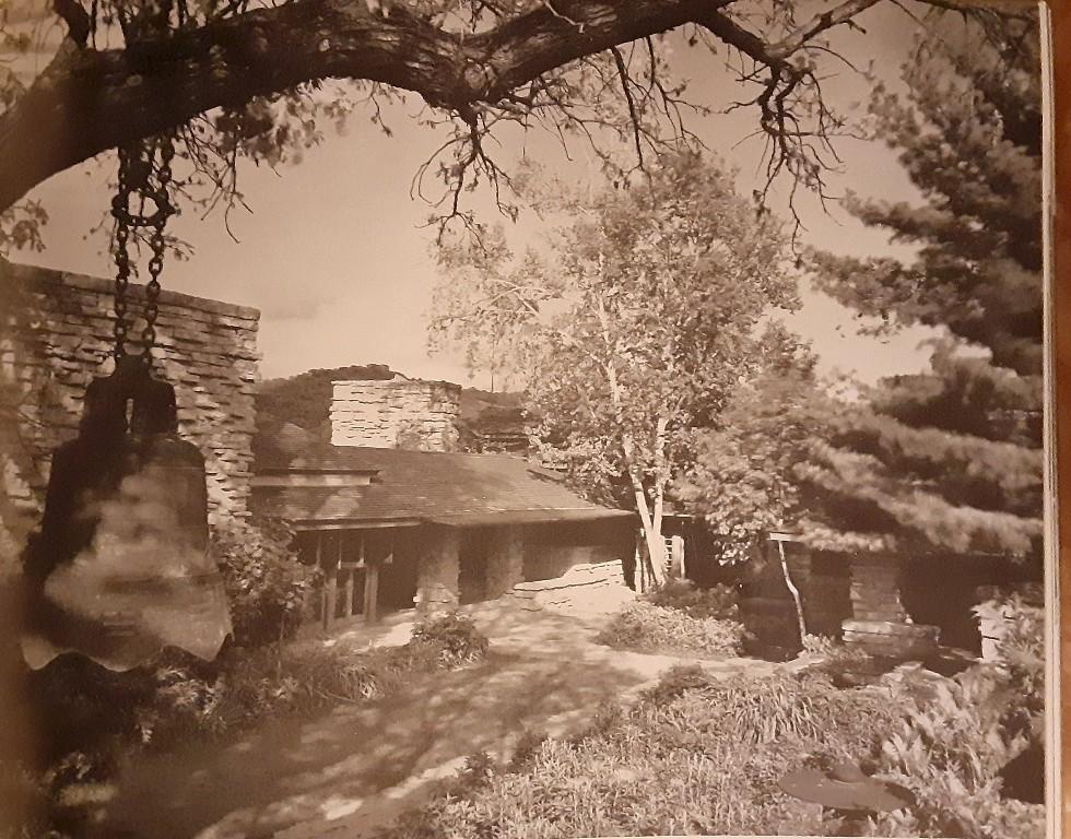Exterior photograph looking northeast at Taliesin. Taken by Ezra Stoller