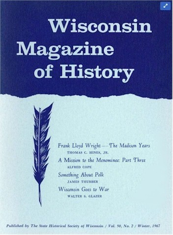 Cover of the Wisconsin magazine of History, Volume 50, Number 2, Winter, 1967