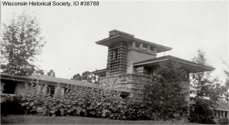 Taliesin dining area and Hill Tower, summer. 1920-22.