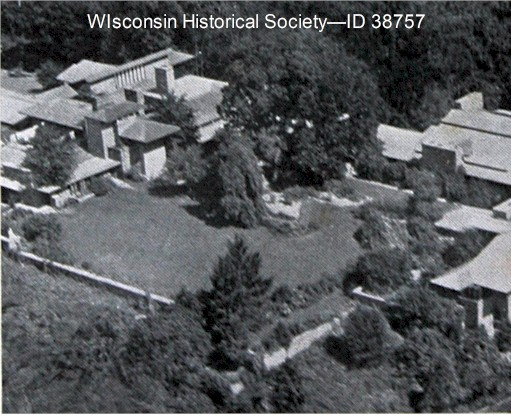 Aerial of Taliesin in summer, 1932-33. Cropped.