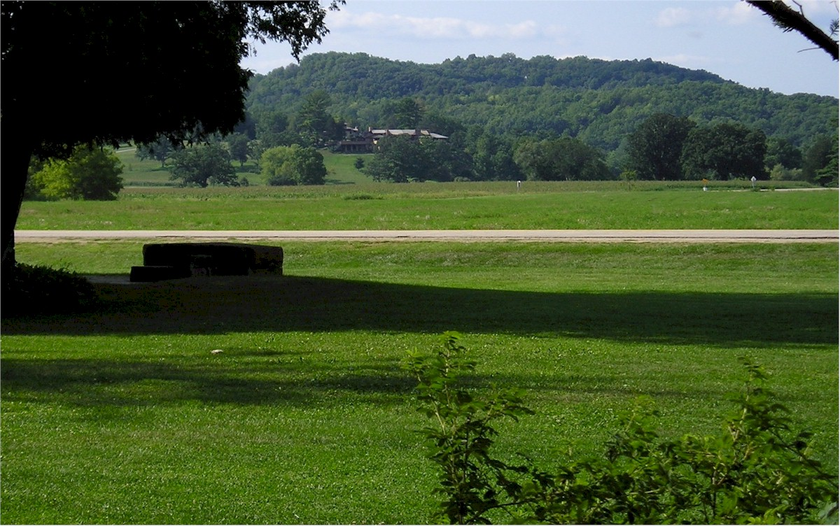 Looking toward Taliesin from the grounds of Unity Chapel