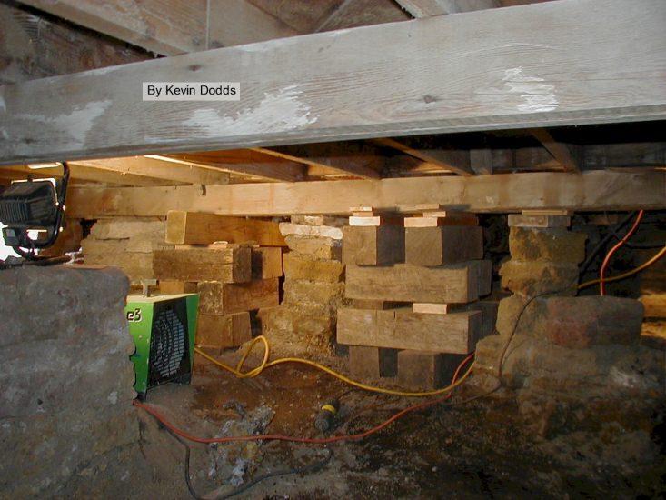 Wooden platform in Taliesin's crawlspace.