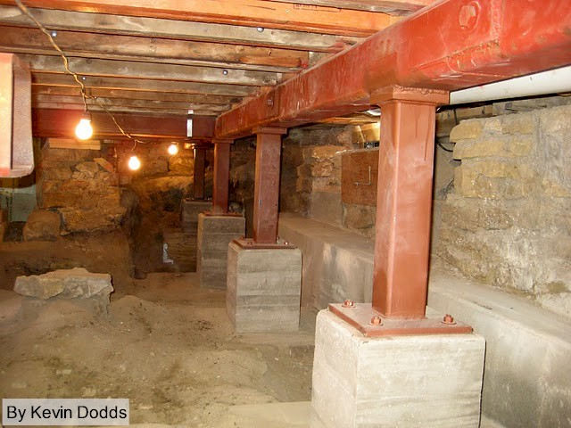 New posts and beams in crawlspace at Taliesin.