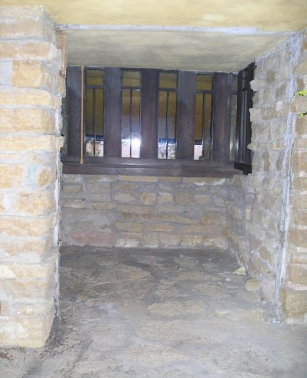 The stone alcove outside of Wright's Taliesin Drafting Studio.