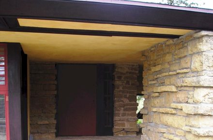 A red door at the alcove at Frank Lloyd Wright's Taliesin studio
