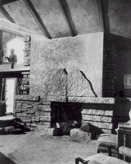 Taken inside Taliesin, looking southwest in Loggia fireplace. 1926-29.